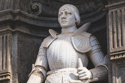 King Alfonso V of Aragon, statue of Achille D'Orsi 1800 on the facade of the Royal Palace, Naples, Italy