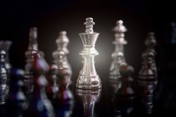 King and Knight of chess setup on dark background . Leader and teamwork concept for success. Chess concept save the king and save the strategy.