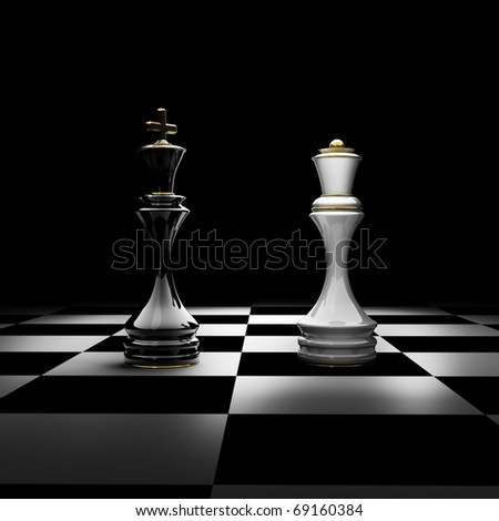 King and Queen chess isolated on black 3d render