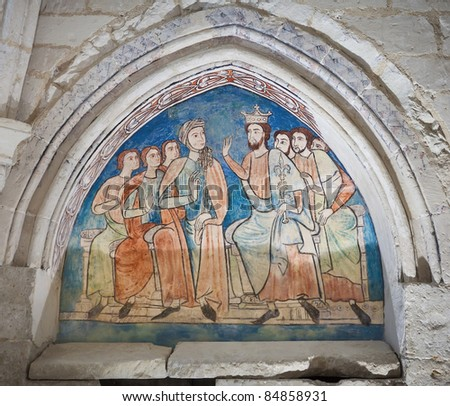 King and Queen with servants in a gothic painting (S.XIII). Monastery of Santa Maria de Valbuena in the province of Valladolid, Spain