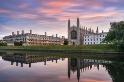 King Chapel in Cambridge at sunrise. England
