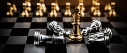 King chess standing winner on falling chess after fight challenge battle on chess board concepts of leadership and business strategy and human personal organization risk management.