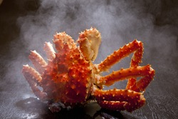 King Crab Going Up To The Hot Water