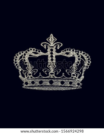 King crown silver silhouette isolated on black background.Beautiful royal tiara for queen,prince,princess.
