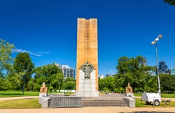King George V Monument at Kings Domain parklands in Melbourne, Australia