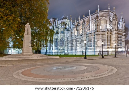 King George V statue near Westminster Abbey at London, England