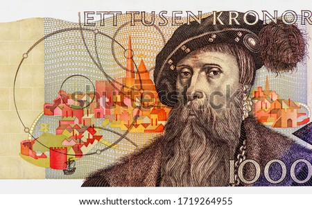 Photo of  King Gustav Vasa, Swedish King. Portrait from Swedish 1000 Kronor 2006 Banknotes. An Old paper banknote, vintage retro. Famous ancient Banknotes. Collection.