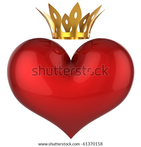 King heart. Lucky love concept. Red shiny heart with golden crown. This is a detailed 3D rendering (Hi-Res). Isolated on white. Love will save the world !!