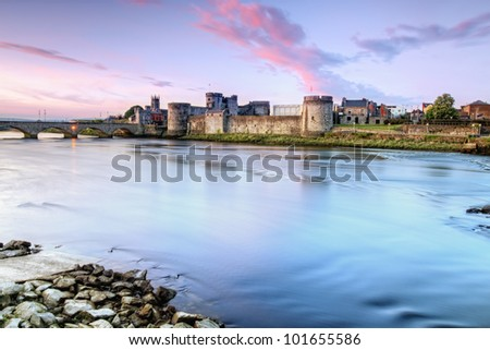King John's Castle is a castle located on King's Island in Limerick, Ireland, next to the River Shannon. - stock photo