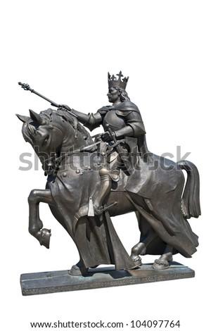 King Kazimierz Jagielonczyk statue isolated on the white background.
