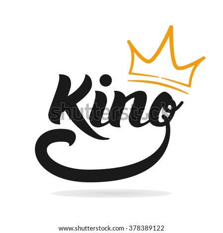 template. King icon. Word of the king and the crown. Logo design. Hand ...
