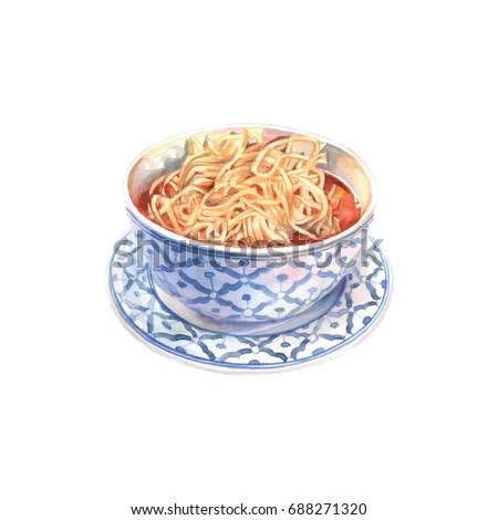 King noodle soup. Asian food. Watercolor illustration.