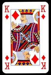 King of diamonds playing card isolated on black.