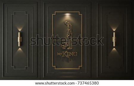 King of thailand, gold dots, decorations on black wall, Rama 9, bhumibol adulyadej, 3D render 3D illustration