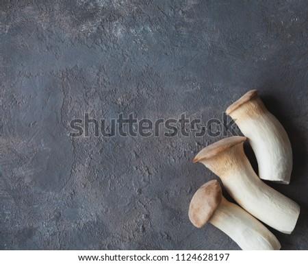 King oyster mushroom, Pleurotus eryngii on grey table