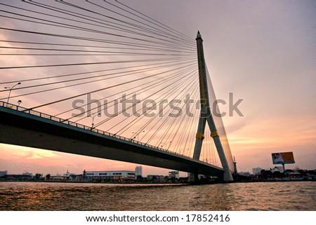 King Rama Bridge at sunset,  Bangkok, Thailandia. #17852416