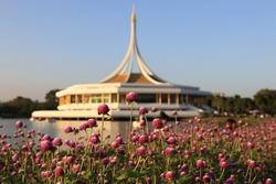 King Rama 9 Public Park (Suanluang Rama IX).Botanical view with Iconic pavilion building in the lake at at Suan Luang Rama IX Park in Bangkok, Thailand.