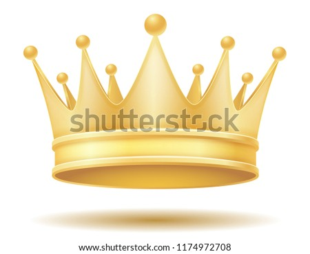 king royal golden crown illustration isolated on white background