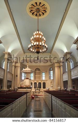 King's Chapel Interior in Boston, Massachusetts, USA - stock photo