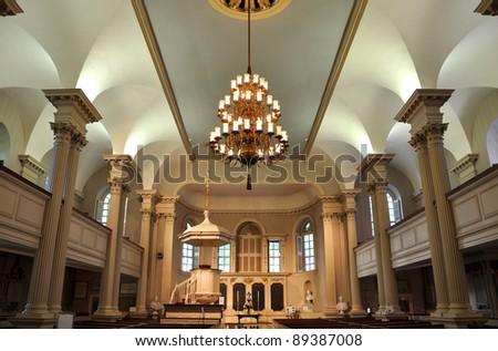 King's Chapel Interior in Boston, Massachusetts, USA