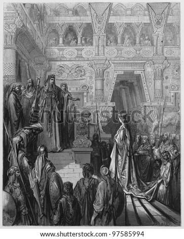 King Solomon received in the palace - Picture from The Holy Scriptures, Old and New Testaments books collection published in 1885, Stuttgart-Germany. Drawings by Gustave Dore.