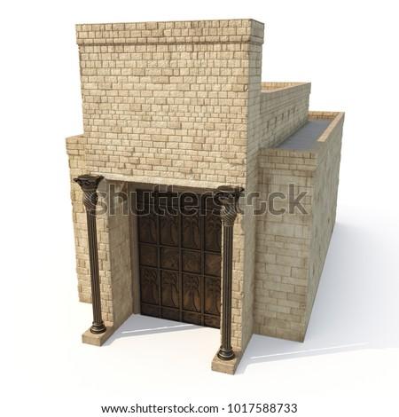 King Solomon's temple on white. 3D illustration