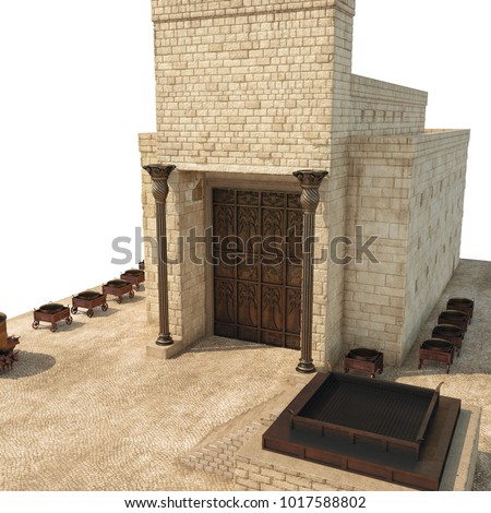 King Solomon's temple with bronze pillars named Boaz and Jachin on white. 3D illustration