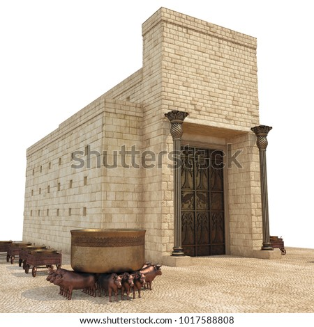 King Solomon's temple with large basin call Brazen Sea and bronze altar on white. 3D illustration