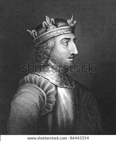 King Stephen (1096-1154). Engraved by Bocquet and published in the Catalogue of the Royal and Noble Authors, United Kingdom, 1806.