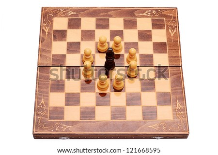 King surrounded on the chess table