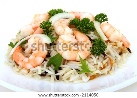 king tiger prawn shrimp on a bed of rice, macro isolated on white