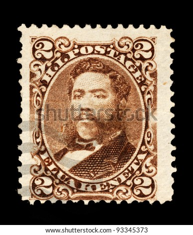 KINGDOM OF HAWAII - CIRCA 1877 - 1892: Postage stamp from the Kingdom of Hawaii, depicting King David Kalakaua, used between circa 1877 - 1892.