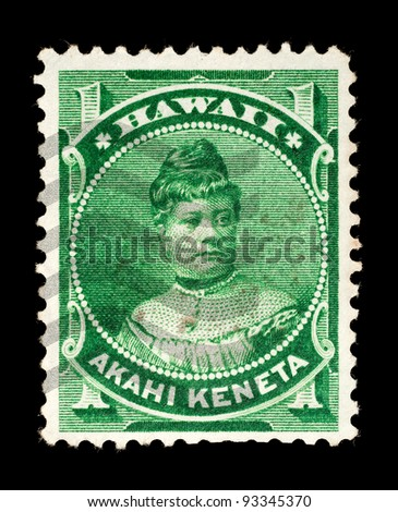 KINGDOM OF HAWAII - CIRCA 1882 - 1892: Postage stamp from the Kingdom of Hawaii depicting Princess Likelike, used between circa 1882 - 1892.