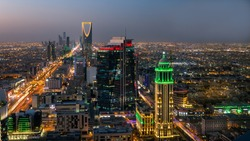 Kingdom of Saudi Arabia Landscape at night - Riyadh Tower Kingdom Center - Kingdom Tower - Riyadh skyline - Riyadh at night