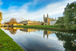 Kings college and cam river viewed in the morning in Cambridge, England