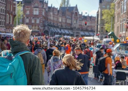 Kings day crowds in Amsterdam