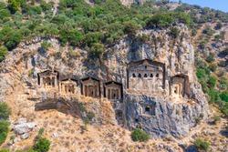 Kings tombs in the cliff face Kaunos Dalyan, Turkey.
