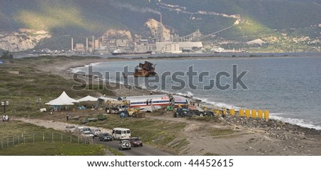 KINGSTON, JAMAICA - DECEMBER 22: American Airlines flight 331 crashed after they overshot the runway at Norman Manley International Airport, December 22, 2009 in Kingston Jamaica.