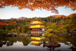 Kinkakuji castle with autumn background and sunset, Goldent temple,  The traditional vintage pavilion in Kyoto city, Japan