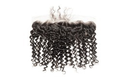 Kinky curly black human hair weaves extensions lace frontal