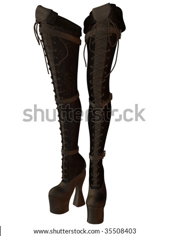 thigh high lace up brown suede boots stock