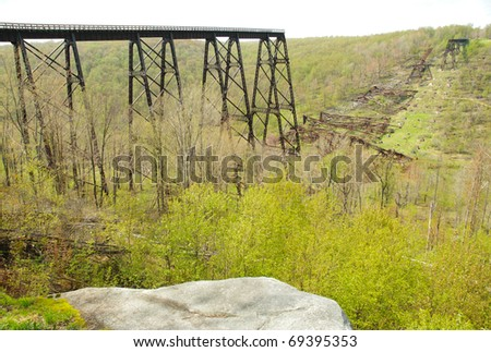 Kinzua Bridge Viaduct and collapsed steel ruins