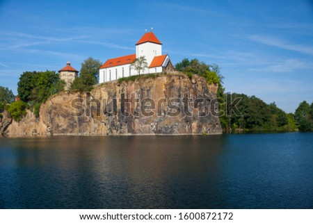 Kirchberg or Church Hill with Church on the Hill and a water tower, Beucha, Brandis, Saxony, Germany