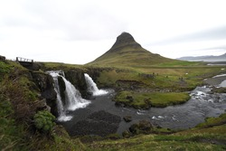 Kirkjufel waterfalls at Grundarfjordur Village in the north of the Iceland.