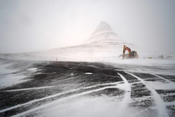 Kirkjufell mountain after snow storm. Snaefellnes National Park in winter season, Iceland