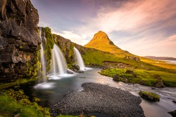 Kirkjufell Mountain, Iceland, Landscape with waterfalls, long exposure in a sunny day, Snaefellsnes peninsula