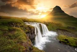 Kirkjufell waterfalls in Grundarfjordur, west of Iceland