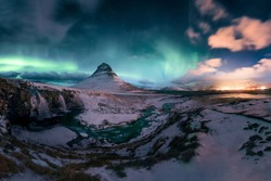 Kirkjufell with Northern lights - Iceland - Winter