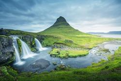 Kirkjufellsfoss Waterfall and Kirkjufell mountain