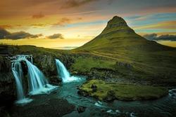 Kirkjuvell in Iceland at sunset